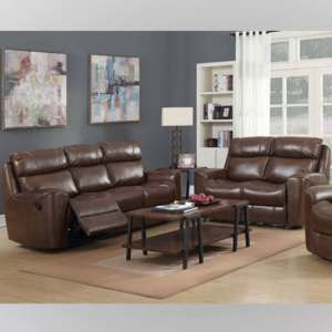 Brookland Leather 3 And 2 Seater Sofa Suite In Tan