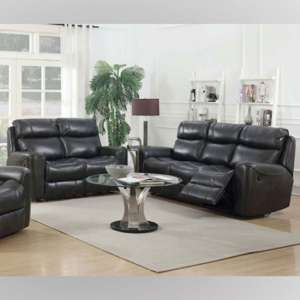 Brookland Leather 3 And 2 Seater Sofa Suite In Two Tone Grey