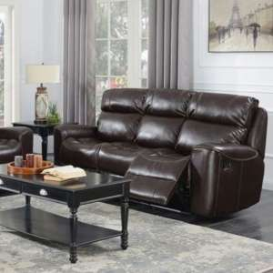 Brookland Leather 3 Seater Recliner Sofa In Chestnut