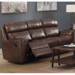 Brookland Leather 3 Seater Recliner Sofa In Tan