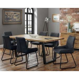 Brooklyn Dining Set With 6 Soho Black Leather Chairs