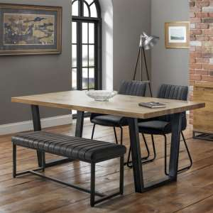 Brooklyn Dining Set With Soho Bench And 2 Black Leather Chairs