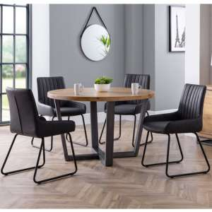 Brooklyn Round Dining Set With 4 Soho Black Leather Chairs