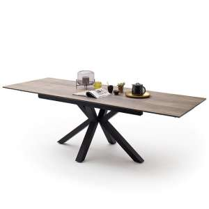 Brooky Glass Extendable Dining Table In Natural Wood Metal Frame