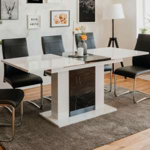Brugge Extending Dining Table In White High Gloss Royal Marble