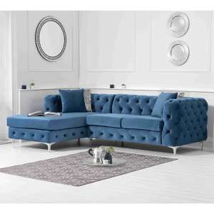 Bruket Velvet Left Handed Chaise Corner Sofa In Blue