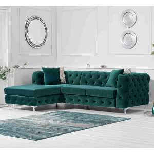 Bruket Velvet Left Handed Chaise Corner Sofa In Green