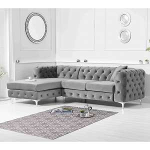 Bruket Velvet Left Handed Chaise Corner Sofa In Grey