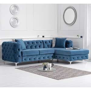 Bruket Velvet Right Handed Chaise Corner Sofa In Blue