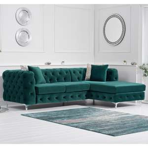 Bruket Velvet Right Handed Chaise Corner Sofa In Green