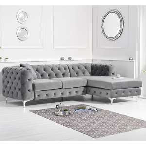 Bruket Velvet Right Handed Chaise Corner Sofa In Grey