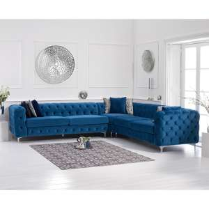 Bruket Velvet Upholstered Corner Sofa In Blue