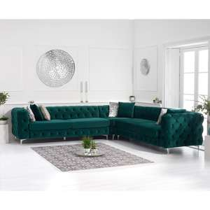Bruket Velvet Upholstered Corner Sofa In Green