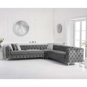 Bruket Velvet Upholstered Corner Sofa In Grey