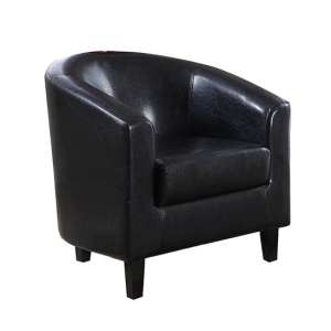 Bruna Faux Leather Single Tub Chair In Black