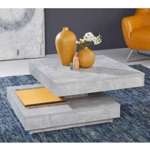Brunch Wooden Rotating Coffee Table Square In Cement Grey