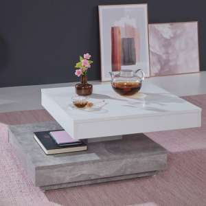 Brunch Rotating Coffee Table Square In White And Cement Grey