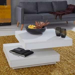 Brunch Wooden Rotating Coffee Table Square In White