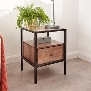 Brunel Lamp Table In Mango Wood Effect With 1 Drawer