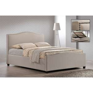Brunswick Fabric Storage Ottoman King Size Bed In Sand
