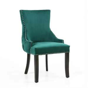Brusel Accent Chair In Brushed Velvet Green With Black Legs