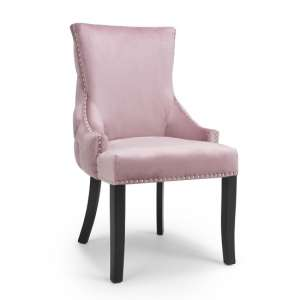 Brusel Accent Chair In Brushed Velvet Pink Blush With Black Legs