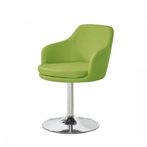 Bucketeer Bistro Chair In Lime Green PU With Chrome Base