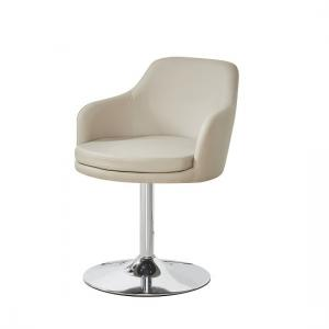 Bucketeer Bistro Chair In Taupe Faux Leather With Chrome Base