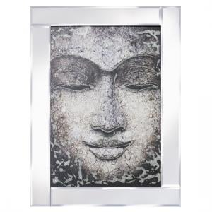 Buddha Face Modern Glass Wall Art On Mirror Frame