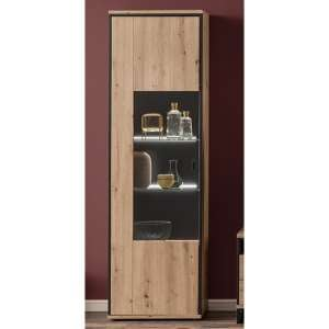 Buenos Aires LED Display Cabinet In Planked Oak With 1 Door
