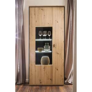 Buenos Aires LED Display Cabinet In Planked Oak With 2 Doors