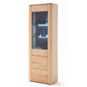Buffalo LED Wooden Display Cabinet In Planked Oak With 1 Door