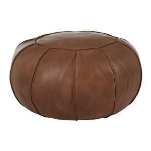 Buffalo Pouffe In Brown Tactile Leather