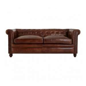 Buffaloes 3 Seater Leather Chesterfield Sofa In Dark Brown
