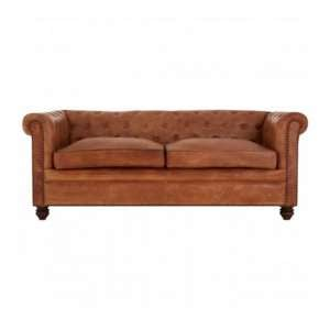 Buffaloes 3 Seater Leather Chesterfield Sofa In Light Brown