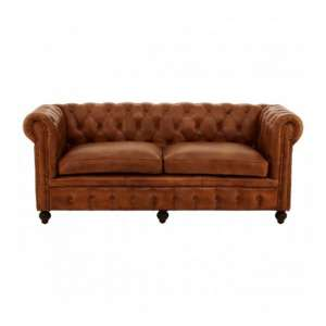Buffaloes 3 Seater Leather Sofa In Brown