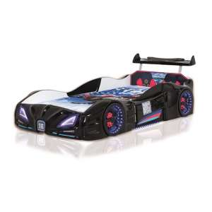 Buggati Veron Childrens Car Bed In Black With Spoiler And LED