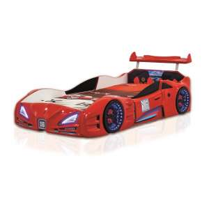 Buggati Veron Childrens Car Bed In Red With Spoiler And LED