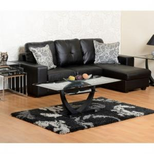 Burnham Reversible Corner Sofa In Black Faux Leather