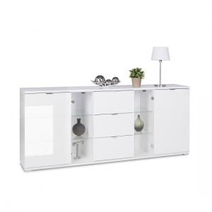 Burton Sideboard In White With High Gloss And 3 Drawers