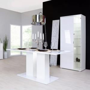 Burton Dining Table Rectangular In White High Gloss With LED
