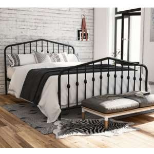 Bushwick Metal Double Bed In Black