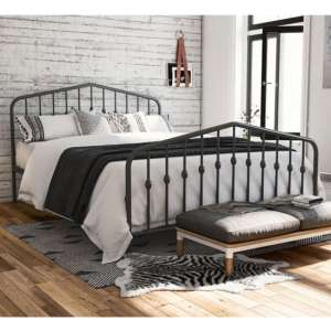 Bushwick Metal King Size Bed In Grey