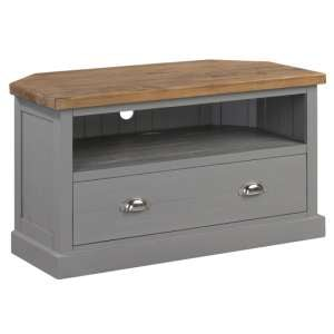 Bylant Wooden Corner TV Stand In Grey And Natural