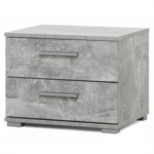 Byron Bedside Cabinet In Structured Concrete With 2 Drawers