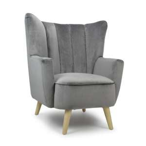 Byron Brushed Velvet Padded Back Armchair In Grey