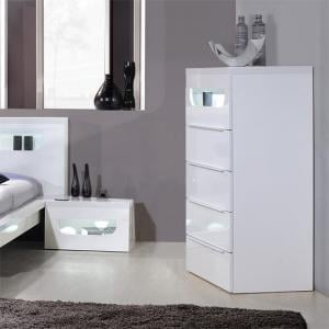 Pulse High Gloss 5 Drawer Cabinet In White With LED Lighting