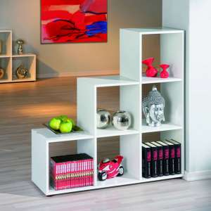 Caboto FSC 3 Tier Display Shelves In White With 6 Compartments