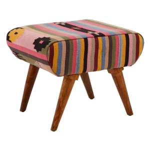 Cafenos Fabric Footstool In Multicolour With Oak Legs