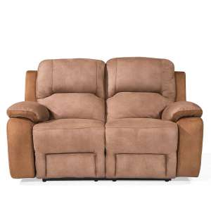 Calais Fabric Recliner 2 Seater Sofa In Brown